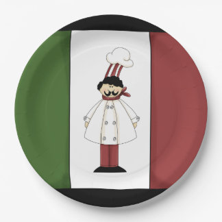 Spaghetti dinner Italian Chef cartoon paper plate