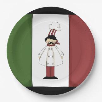Spaghetti dinner Italian Chef cartoon paper plate 9 Inch Paper Plate