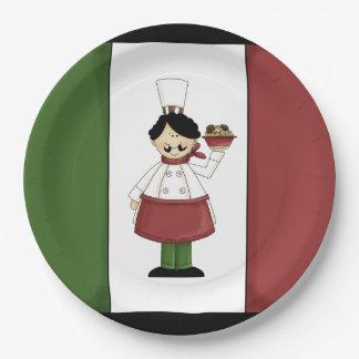 Spaghetti Dinner Italian chef paper plate