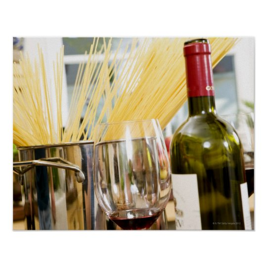 Spaghetti in pan with wine bottle and glasses poster