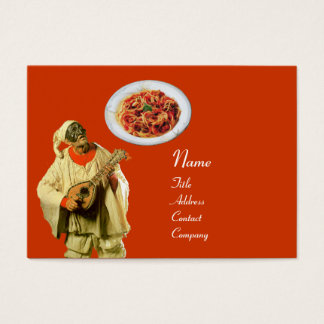 SPAGHETTI & MANDOLIN ITALIAN KITCHEN,black orange Business Card
