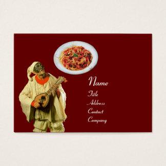 SPAGHETTI & MANDOLIN ITALIAN KITCHEN,black red Business Card