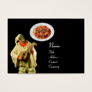 SPAGHETTI & MANDOLIN ITALIAN KITCHEN,black red Business Card