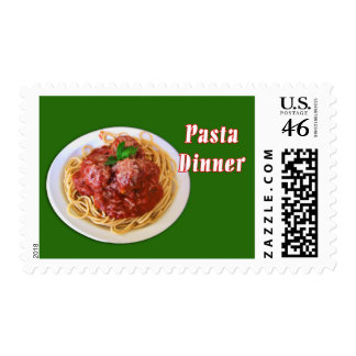 Spaghetti Meatballs Pasta Dinner Postage Stamps