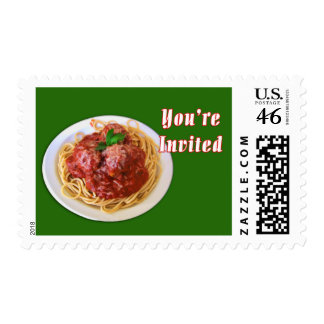 Spaghetti Meatballs You re Invited Postage Stamps