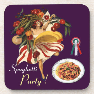 SPAGHETTI PARTY DANCE,ITALIAN KITCHEN AND TOMATOES BEVERAGE COASTER