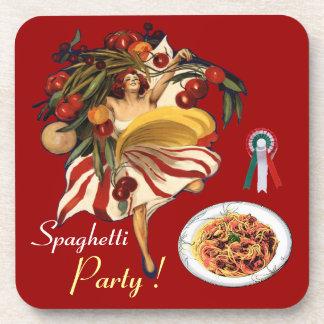 SPAGHETTI PARTY DANCE,ITALIAN KITCHEN AND TOMATOES COASTER
