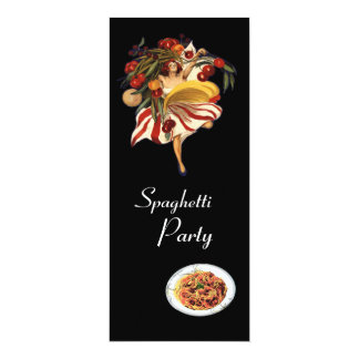 "SPAGHETTI PARTY DANCE,ITALIAN KITCHEN AND TOMATOES 4"" X 9.25"" INVITATION CARD"