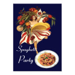 "SPAGHETTI PARTY DANCE,ITALIAN KITCHEN AND TOMATOES 5"" X 7"" INVITATION CARD"