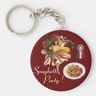 SPAGHETTI PARTY DANCE,ITALIAN KITCHEN AND TOMATOES KEYCHAIN