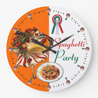 SPAGHETTI PARTY DANCE,ITALIAN KITCHEN AND TOMATOES LARGE CLOCK