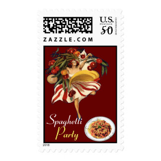 SPAGHETTI PARTY DANCE,ITALIAN KITCHEN AND TOMATOES POSTAGE