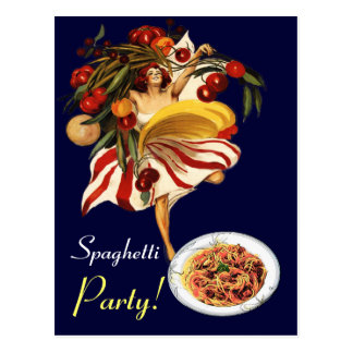 SPAGHETTI PARTY DANCE,ITALIAN KITCHEN AND TOMATOES POSTCARD