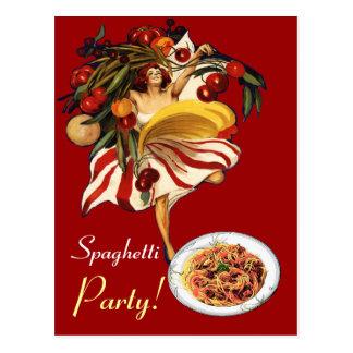 SPAGHETTI PARTY DANCE,ITALIAN KITCHEN AND TOMATOES POSTCARD