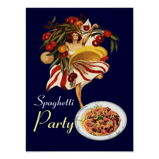 SPAGHETTI PARTY DANCE,ITALIAN KITCHEN AND TOMATOES POSTER