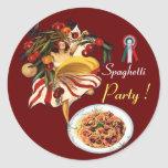 SPAGHETTI PARTY DANCE,ITALIAN KITCHEN AND TOMATOES CLASSIC ROUND STICKER