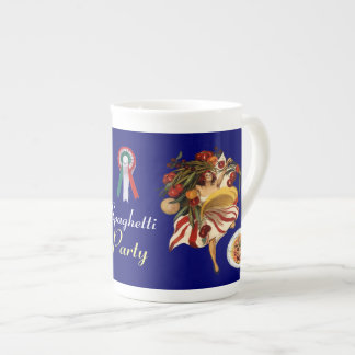 SPAGHETTI PARTY DANCE,ITALIAN KITCHEN AND TOMATOES TEA CUP