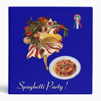 SPAGHETTI PARTY DANCE ITALIAN KITCHEN RECIPE BOOK 3 RING BINDER