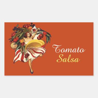 SPAGHETTI PARTY DANCE,ITALIAN KITCHEN TOMATO SALSA RECTANGULAR STICKER