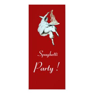 "SPAGHETTI PARTY, ITALIAN KITCHEN dinner, brunch 4"" X 9.25"" Invitation Card"