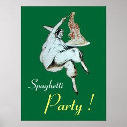 SPAGHETTI PARTY, ITALIAN KITCHEN ,green Poster