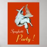 SPAGHETTI PARTY, ITALIAN KITCHEN ,orange Poster