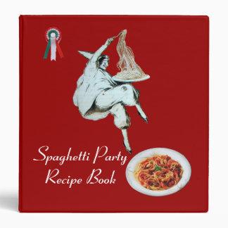 SPAGHETTI PARTY ITALIAN KITCHEN RECIPE BOOK 3 RING BINDER