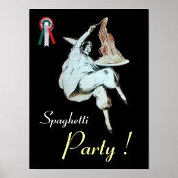 SPAGHETTI PARTY, ITALIAN KITCHEN ,red black white Poster