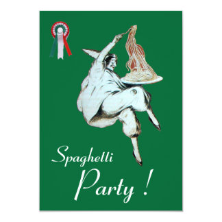 SPAGHETTI PARTY,ITALIAN KITCHEN red green dinner Card