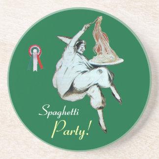 SPAGHETTI PARTY, ITALIAN KITCHEN ,red green white Drink Coaster