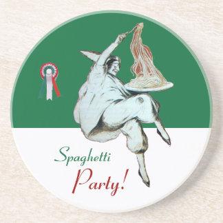 SPAGHETTI PARTY, ITALIAN KITCHEN ,red green white Sandstone Coaster