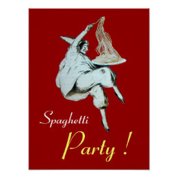 SPAGHETTI PARTY, ITALIAN KITCHEN ,red Poster