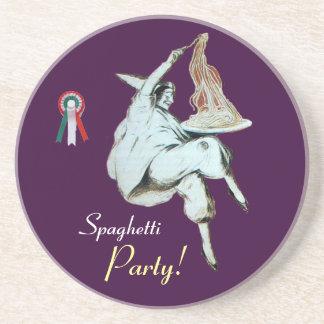 SPAGHETTI PARTY, ITALIAN KITCHEN ,red purple white Coaster