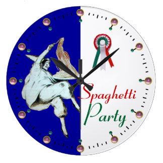 SPAGHETTI PARTY ITALIAN KITCHEN, RESTAURANT,blue Large Clock