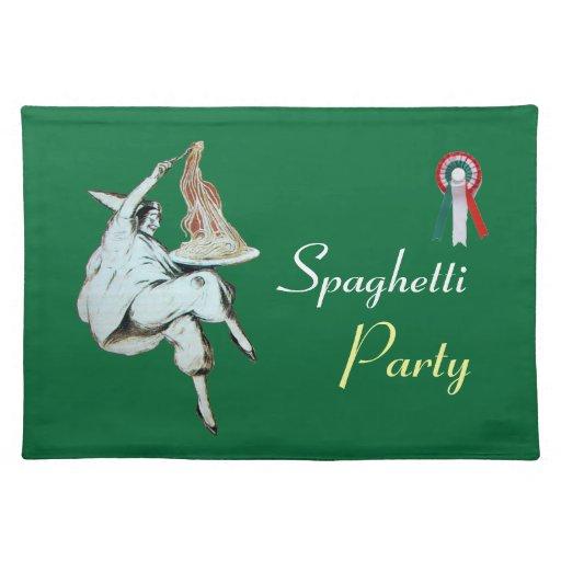 SPAGHETTI PARTY ITALIAN KITCHEN, RESTAURANT green Placemat