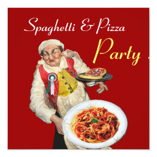 SPAGHETTI & PIZZA PARTY,ITALIAN KITCHEN red black Card