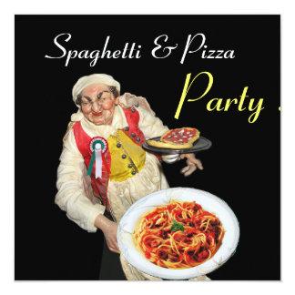 SPAGHETTI & PIZZA PARTY,ITALIAN KITCHEN red black Custom Invite