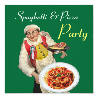 SPAGHETTI & PIZZA PARTY,ITALIAN KITCHEN red green Card