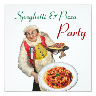 SPAGHETTI & PIZZA PARTY,ITALIAN KITCHEN red white Card