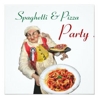 SPAGHETTI & PIZZA PARTY,ITALIAN KITCHEN red white Invitation