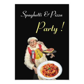 SPAGHETTI & PIZZA PARTY , RESTAURANT black green 5x7 Paper Invitation Card