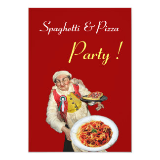 SPAGHETTI & PIZZA PARTY , RESTAURANT black red Announcement