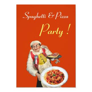 SPAGHETTI & PIZZA PARTY , RESTAURANT orange green 5x7 Paper Invitation Card