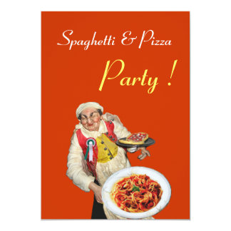 SPAGHETTI & PIZZA PARTY , RESTAURANT orange green Card