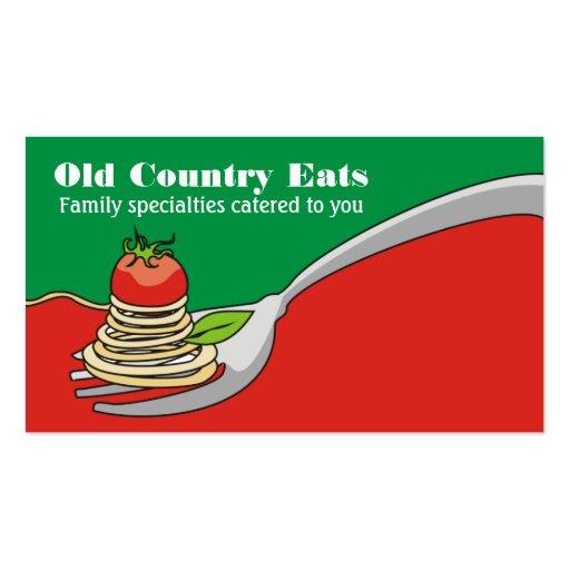 Spaghetti tomato Italian food business cards
