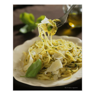 Spaghetti with basil and parmesan on plate, poster