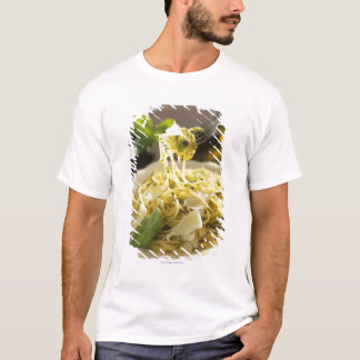 Spaghetti with basil and parmesan on plate, T-Shirt