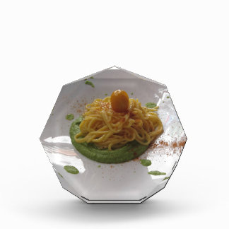 Spaghetti with bottarga on asparagus sauce acrylic award