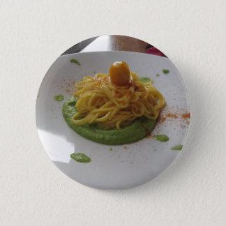 Spaghetti with bottarga on asparagus sauce pinback button