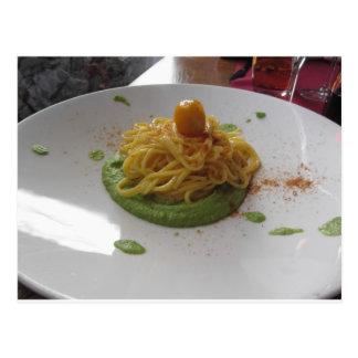 Spaghetti with bottarga on asparagus sauce postcard